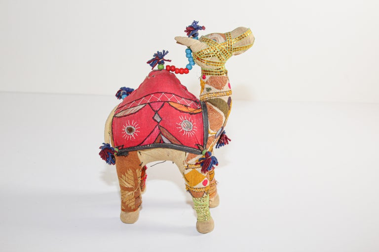 Handcrafted Vintage Stuffed Cotton Embroidered Camel Toy, India, 1950 In Good Condition For Sale In North Hollywood, CA