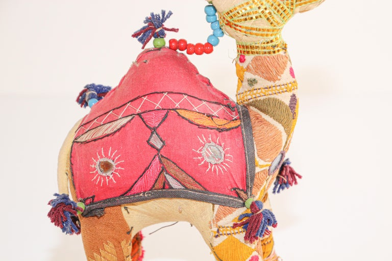 20th Century Handcrafted Vintage Stuffed Cotton Embroidered Camel Toy, India, 1950 For Sale