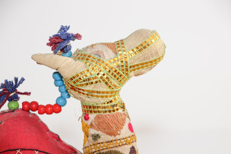 Fabric Handcrafted Vintage Stuffed Cotton Embroidered Camel Toy, India, 1950 For Sale