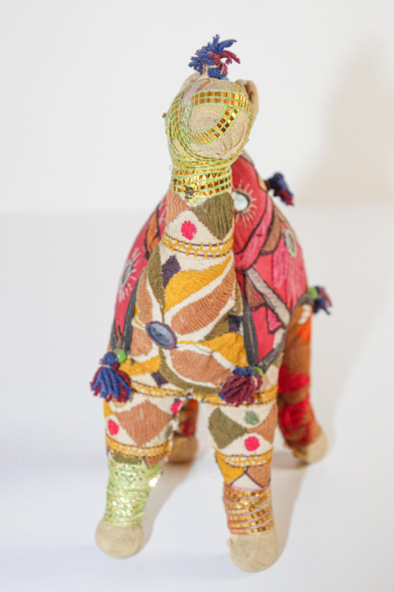 Handcrafted Vintage Stuffed Cotton Embroidered Camel Toy, India, 1950 For Sale 1
