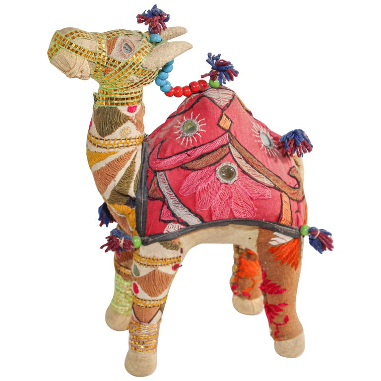 Handcrafted Vintage Stuffed Cotton Embroidered Camel Toy, India, 1950 For Sale