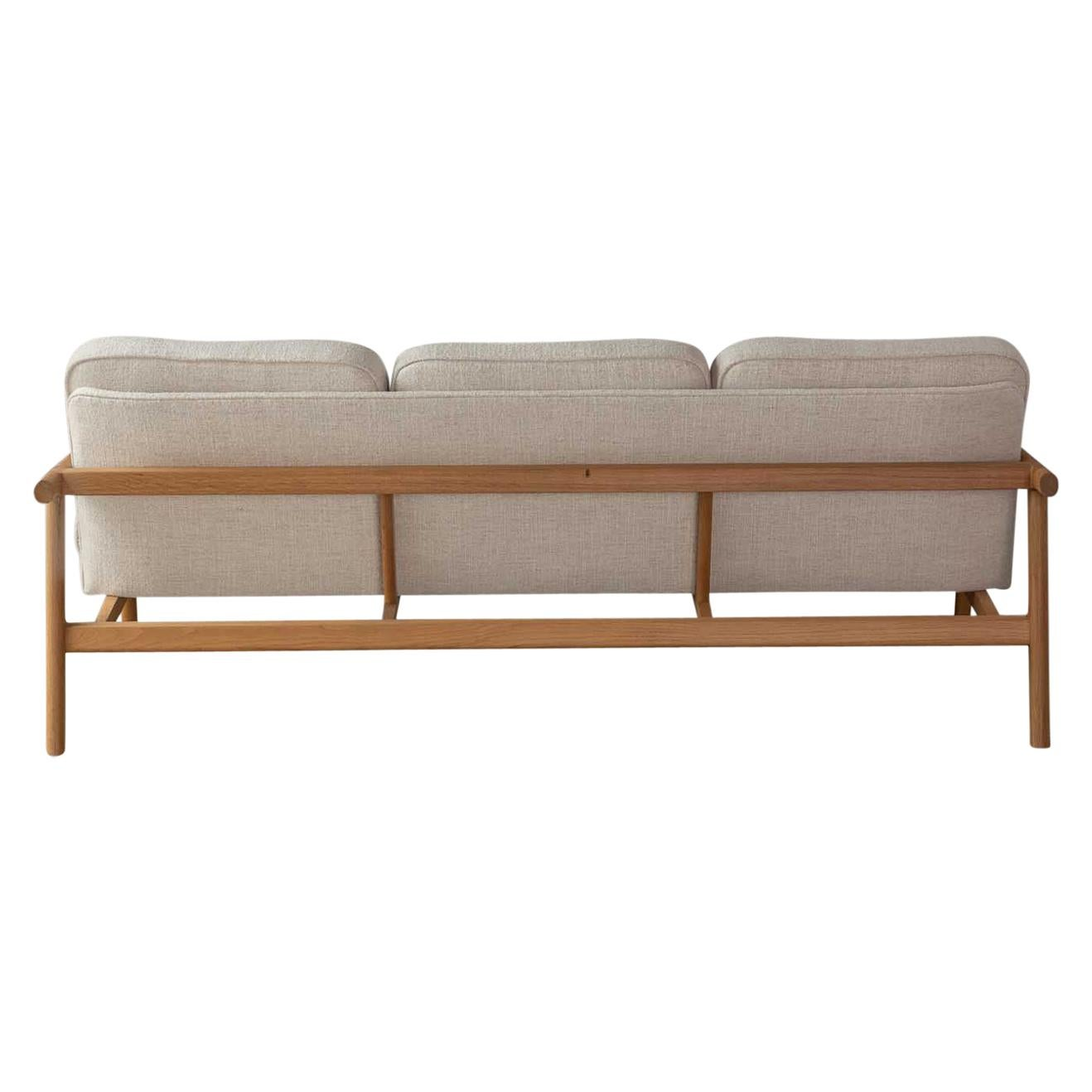 Handcrafted White Oak Moresby Sofa with Custom Linen or Leather Upholstery