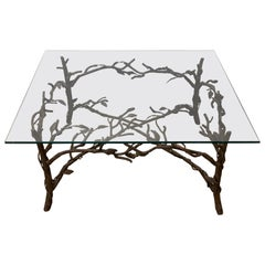 Handcrafted Wrought Iron Tree Branches & Glass Coffee Table Style of Giacometti