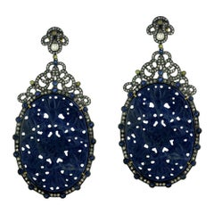 Hand Craved Sapphire Slice Earring with Diamonds around in Silver and Gold