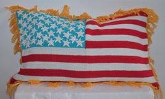 Hand Crochet Vintage Flag Pillow