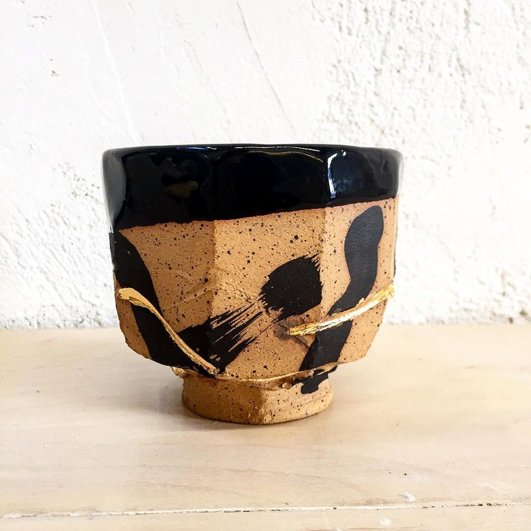 American Hand Decorated Stoneware Humble Cup by Lincoln Mayne For Sale