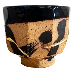 Hand Decorated Stoneware Humble Cup with 22 Karat Gold Luster by Lincoln Mayne