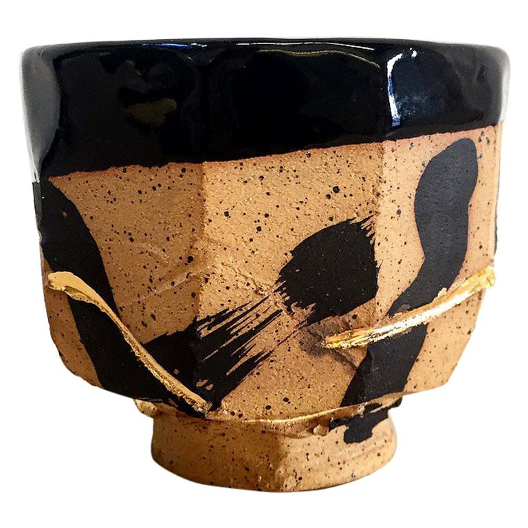 Hand Decorated Stoneware Humble Cup with 22 Karat Gold Luster by Lincoln Mayne For Sale