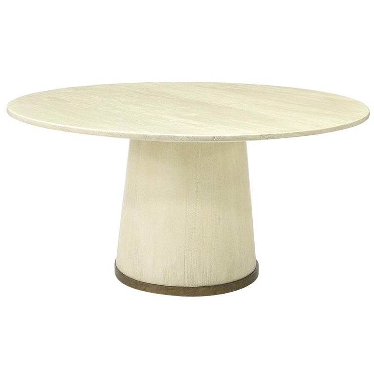 Hand Distressed Solid Wood Dining Table, Gold For Sale