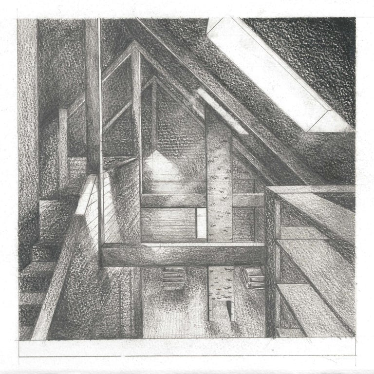 Charcoal and pencil rendering illustrating the skylight condition as one looks down from the powder room area. This rendering was drafted and shaded to study the double-height space and the new roof addition. We designed the open space to maintain