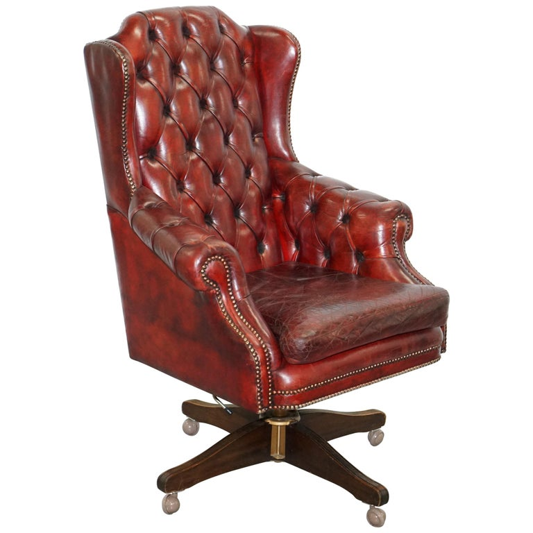 Hand Dyed 1960s Chesterfield Oxblood Leather Directors Captains Office Chair For