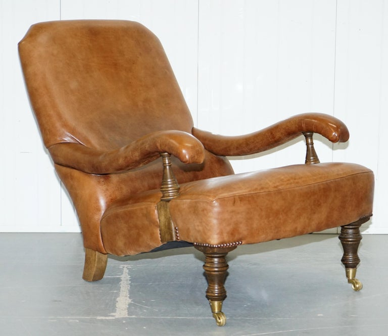 Hand Dyed Aged Brown Leather John Sankey Byron Slipper Armchair and  Footstool