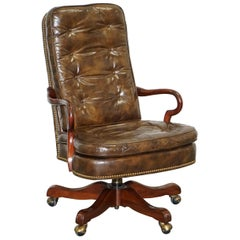 Hand Dyed Brown Leather Chesterfield Buttoned Directors Captains Office Armchair