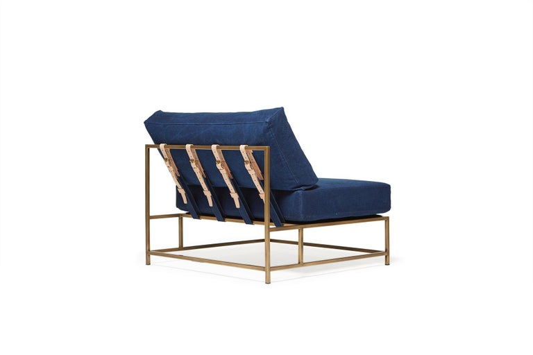 American Hand-Dyed Indigo Canvas and Antique Brass Chair - Extra Wide For Sale