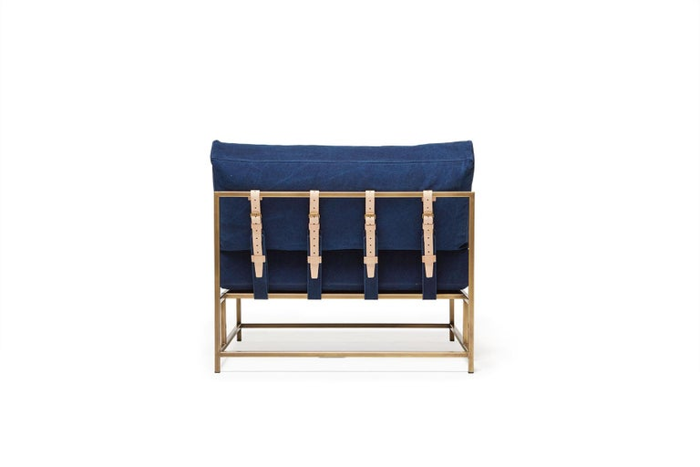Vegetable Dyed Hand-Dyed Indigo Canvas and Antique Brass Chair - Extra Wide For Sale