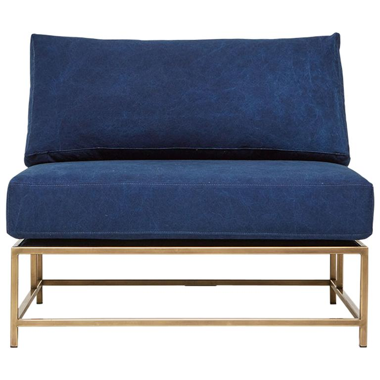 Hand-Dyed Indigo Canvas and Antique Brass Chair - Extra Wide For Sale