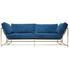 Hand-Dyed Indigo Canvas and Antique Brass Two-Seat Sofa