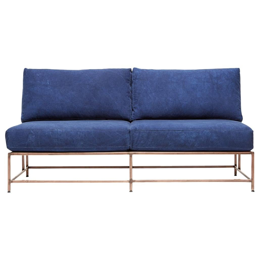 Hand-Dyed Indigo Canvas and Antique Copper Loveseat