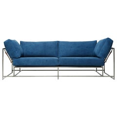 Hand-Dyed Indigo Canvas and Antique Nickel Two-Seat Sofa