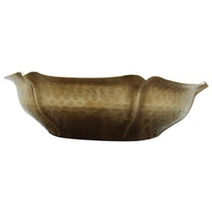 Hand-Embossed Bowl Hammered 1970s Italian Design Brass Gold