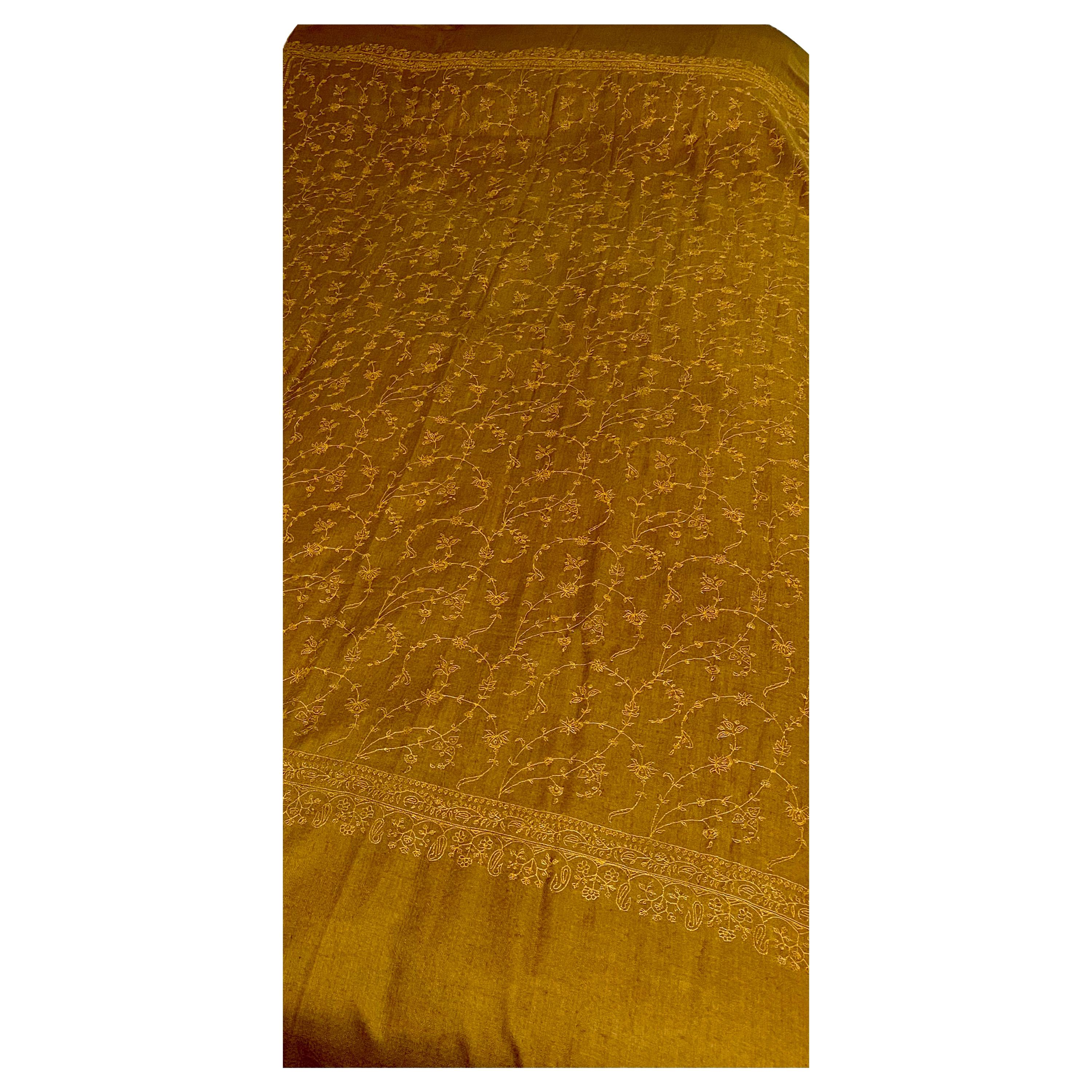 Hand Embroidered 100% Cashmere Pashmina Shawl Golden Brown Made in Kashmir