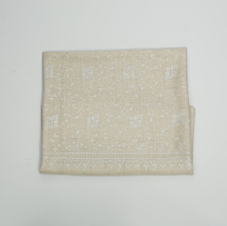 Women's or Men's Hand Embroidered 100% Cashmere Scarf in Ivory Cream & White Made in Kashmir For Sale