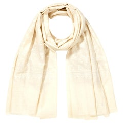 Hand Embroidered 100% Cashmere Scarf in Ivory Cream & White Made in Kashmir