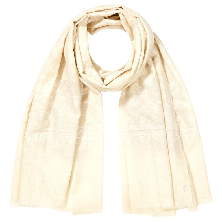 Hand Embroidered 100% Cashmere Scarf in Ivory Cream & White Made in Kashmir For Sale
