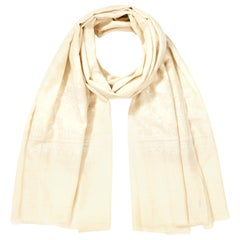 Hand Embroidered 100% Cashmere Scarf in Ivory Cream & White Made in Kashmir -New