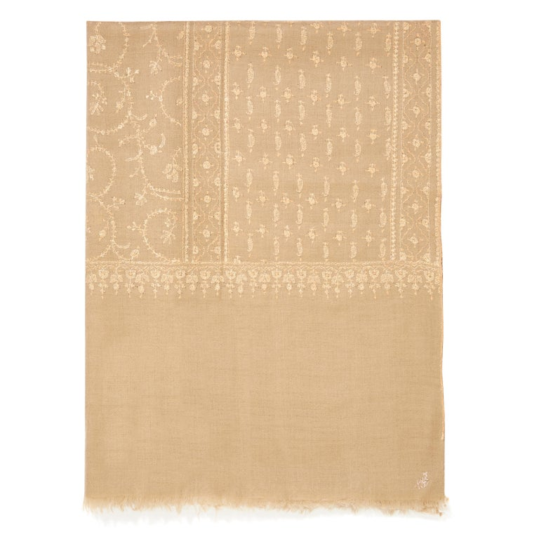 Hand Embroidered  100% Cashmere Shawl in Camel Beige Made in Kashmir India -New   Verheyen London's shawl is spun from the finest embroidered woven cashmere from Kashmir.  The embroidery can take up to 1 year to embroider and each one is unique. Its