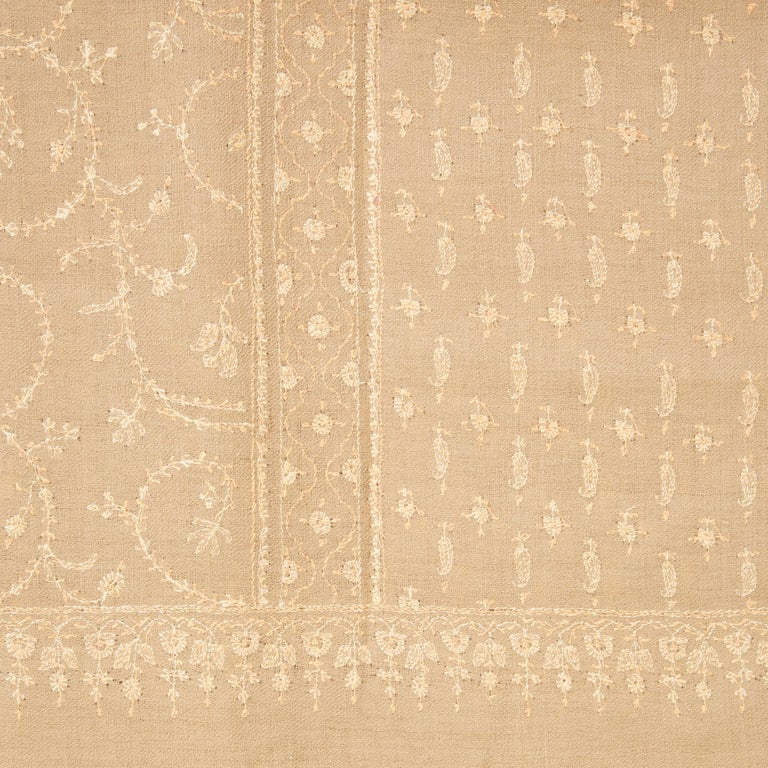 Hand Embroidered  100% Cashmere Shawl in Camel Beige Made in Kashmir India -New  In New Condition For Sale In London, GB