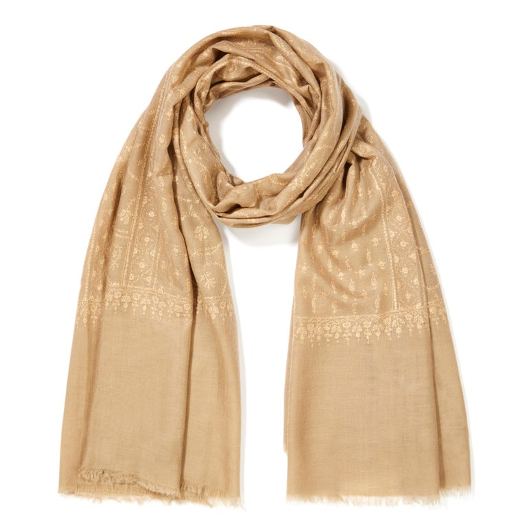 Women's or Men's Hand Embroidered  100% Cashmere Shawl in Camel Beige Made in Kashmir India -New  For Sale