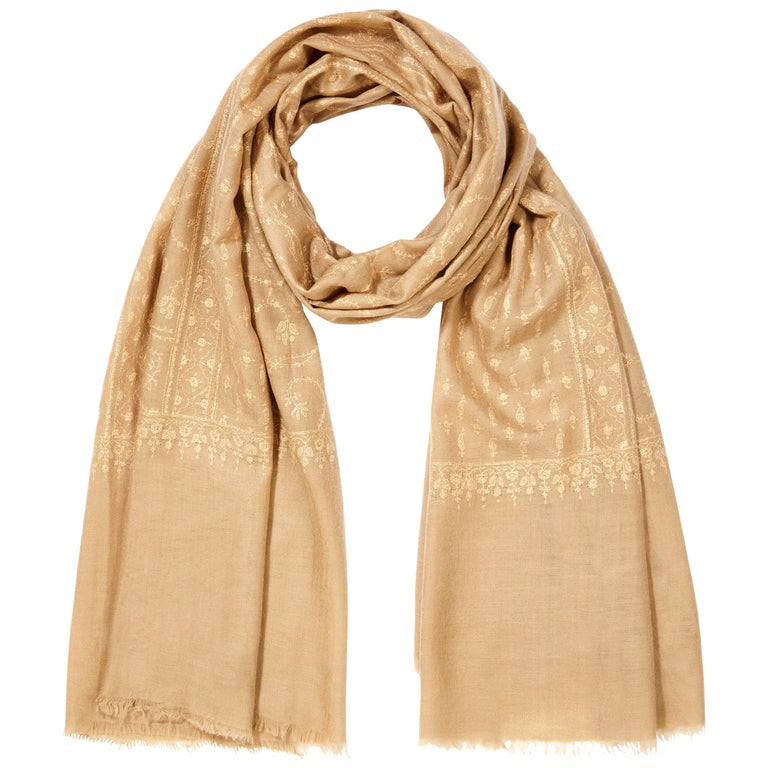 Hand Embroidered  100% Cashmere Shawl in Camel Beige Made in Kashmir India -New  For Sale