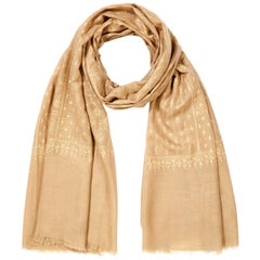 Hand Embroidered  100% Cashmere Shawl in Camel Beige Made in Kashmir India -New