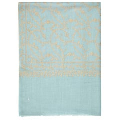 Large Hand Embroidered 100% Cashmere Scarf in Pale Blue & Gold Made in Kashmir