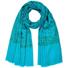 Hand Embroidered 100% Cashmere Shawl in Turquoise Made in Kashmir India