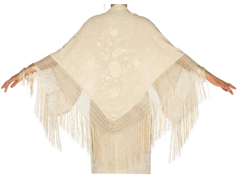 Hand Embroidered Antique Piano Shawl Bias Dress With Cape