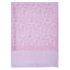 Hand Embroidered Cashmere Scarf in Lilac Made in Kashmir - Brand New