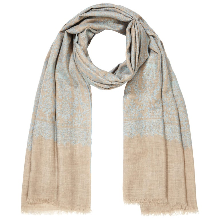 Hand Embroidered Cashmere Scarf in Taupe & Blue Made in Kashmir India -Brand New The perfect gift for someone special - this shawl is unique and handmade.   Verheyen London's shawl is spun from the finest embroidered woven cashmere from Kashmir.