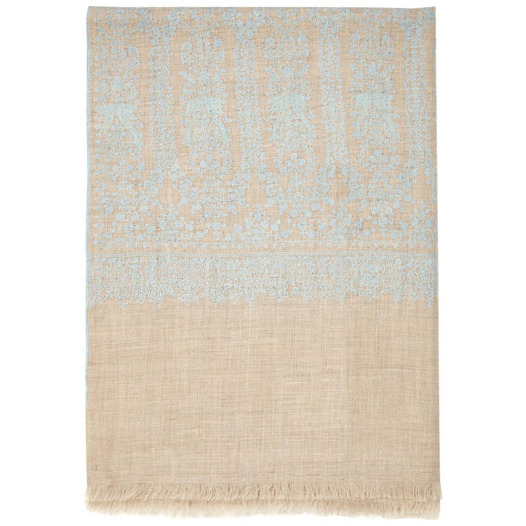 Hand Embroidered Cashmere Scarf in Taupe & Blue Made in Kashmir India -Brand New For Sale
