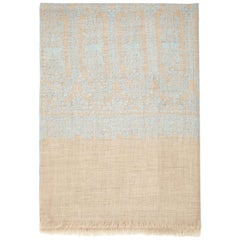 Hand Embroidered Cashmere Scarf in Taupe & Blue Made in Kashmir India -Brand New