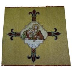 Hand Embroidered Copper & Silk Thread, Bread of Life / Christ Church Relic