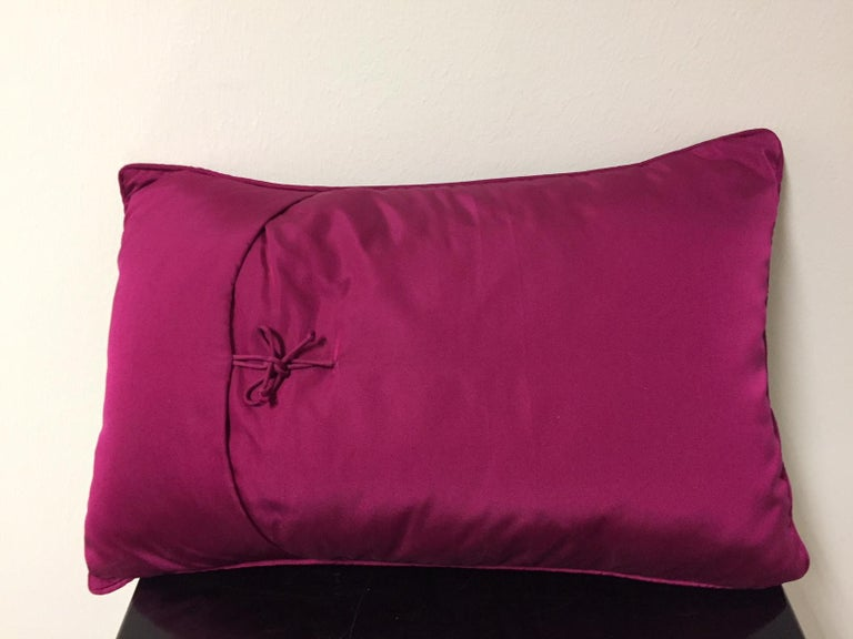 Decorative cushion silk col. pink with coral design hand embroidery col. ice sequins and semi-precious stone color dark pink, size: 30 cm x 45 cm, cushion cover with cotton lining, feather inner 100% new goose feathers.