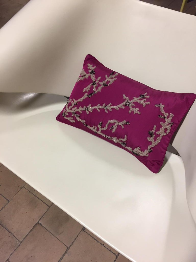 Contemporary Hand Embroidered Coral Design Decorative Cushion Silk Pink For Sale