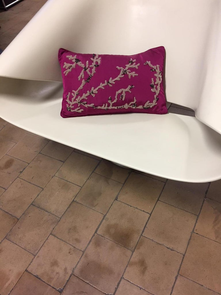 Hand Embroidered Coral Design Decorative Cushion Silk Pink For Sale 1