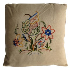 Hand Embroidered Cushion or Pillow, English circa 1940s