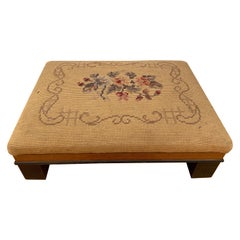 Hand Embroidered Footstool, Circa 1800