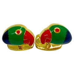 Hand Enameled Brazilian Parrots T-Bar Back Sterling Silver Cufflinks