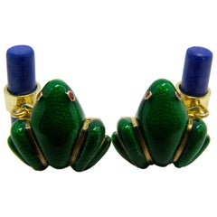 Berca Hand Enameled Frog Shaped Natural Lapis Stick Back Yellow Gold Cufflinks