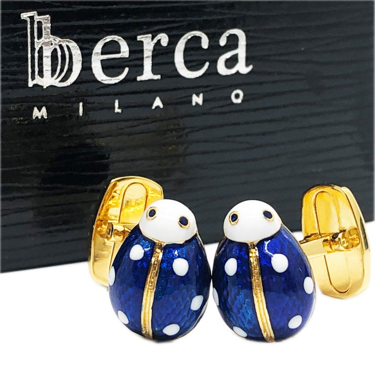 Hand Enameled Ladybug Shaped T-Bar Back Sterling Silver Gold-Plated Cufflinks For Sale 6